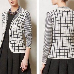 Sparrow Windowpane Knit Cardigan Sweater Size smal
